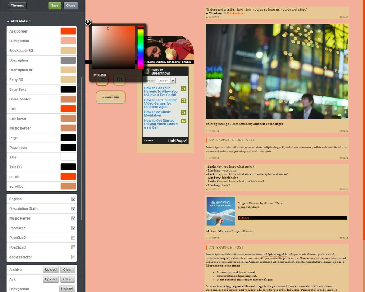 Changing your Tumblr theme's background color is easy if you don't have a background.