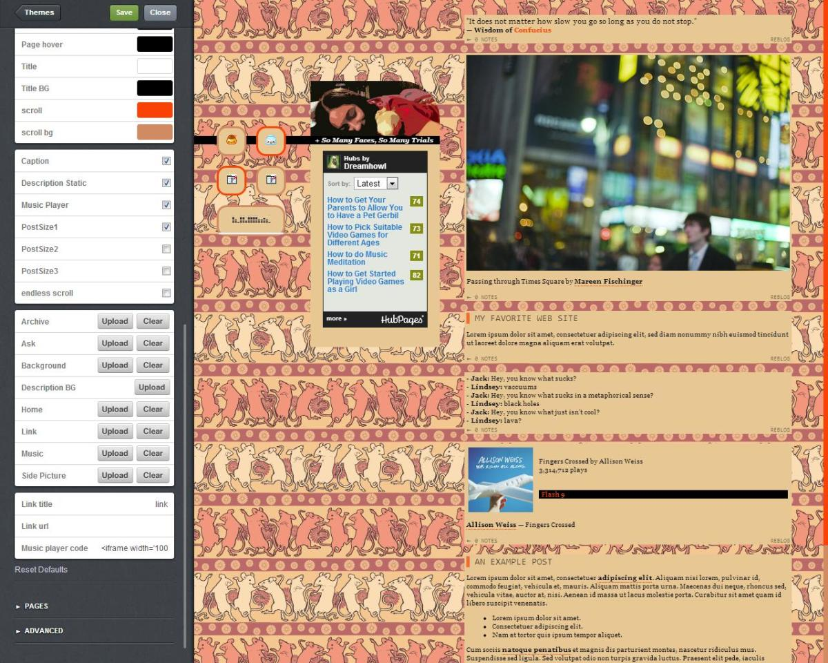 A patterned image looks much better when overlapping on your blog's background.