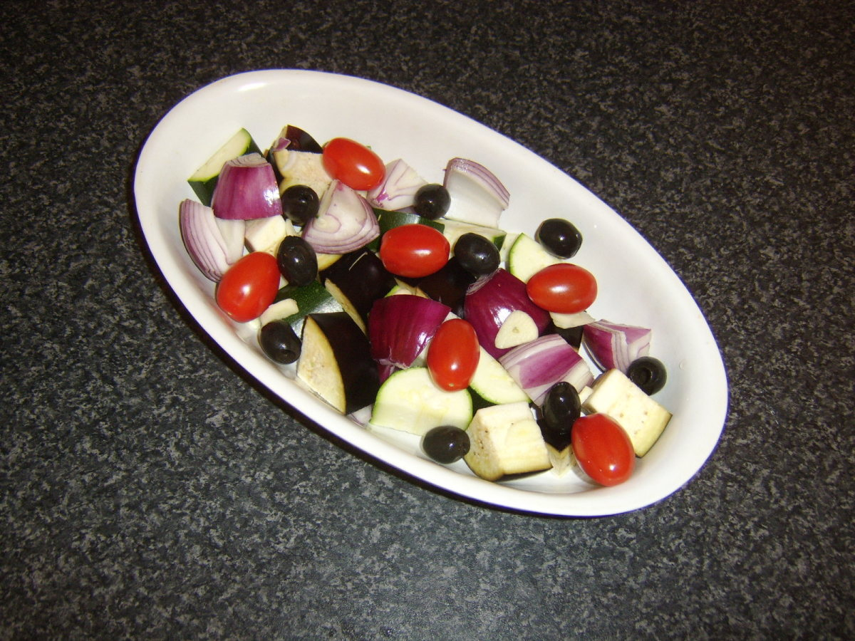 Vegetables ready for roasting in the oven