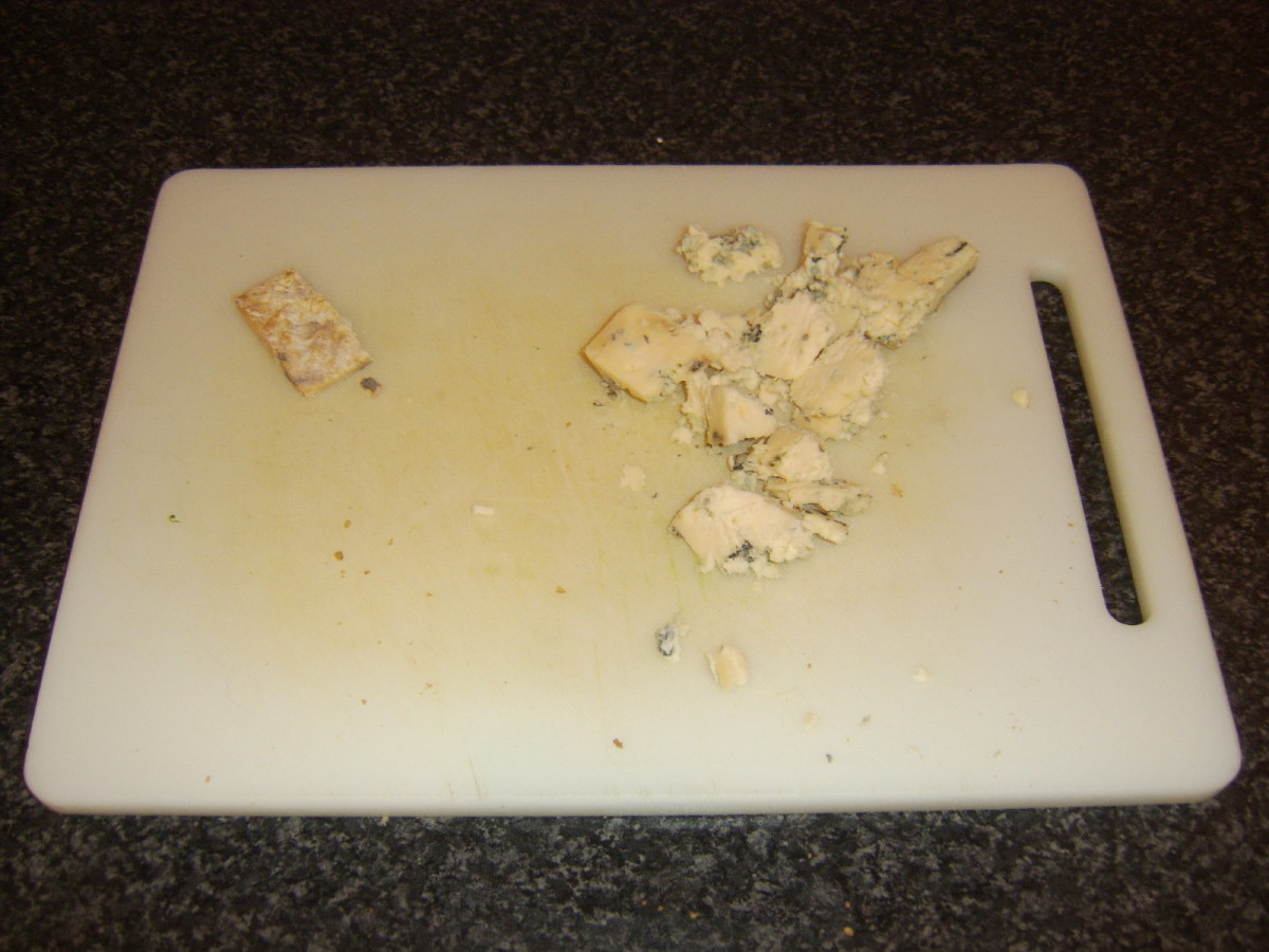 Crumbled Stilton for cheese sauce