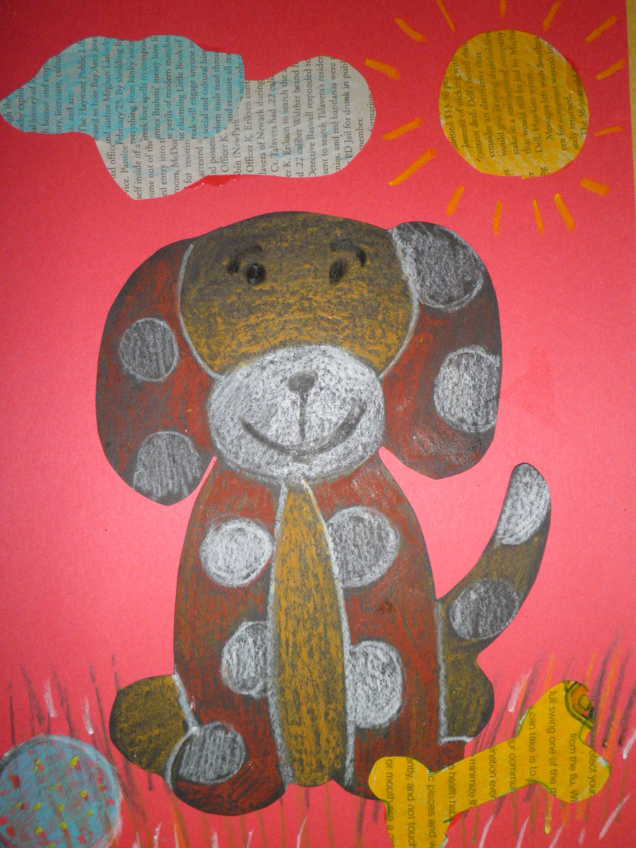 A simple dog that even a child can draw - finished with oil pastels on drawing paper and glued to a piece of construction paper Mixed media (newspaper) was added for bowls, suns, clouds. bones, doghouses, etc.