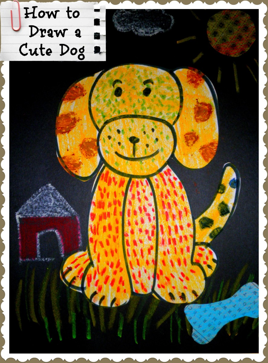 A simple dog that even a child can draw - finished with oil pastels on drawing paper and glued to a piece of construction paper