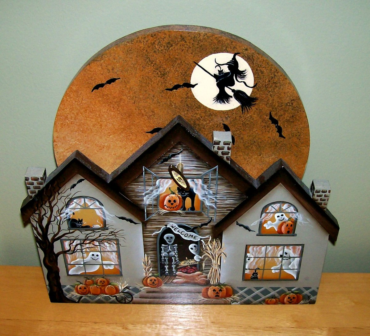 Halloween music box decoration with rotating moon ~ painted by Patty Sypek/design by Yvonne Kresal