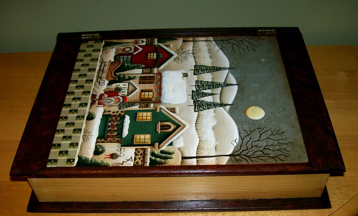 "Side view of Mock Christmas book ""box"" painted by Patty Sypek/design by Betty Caithness"