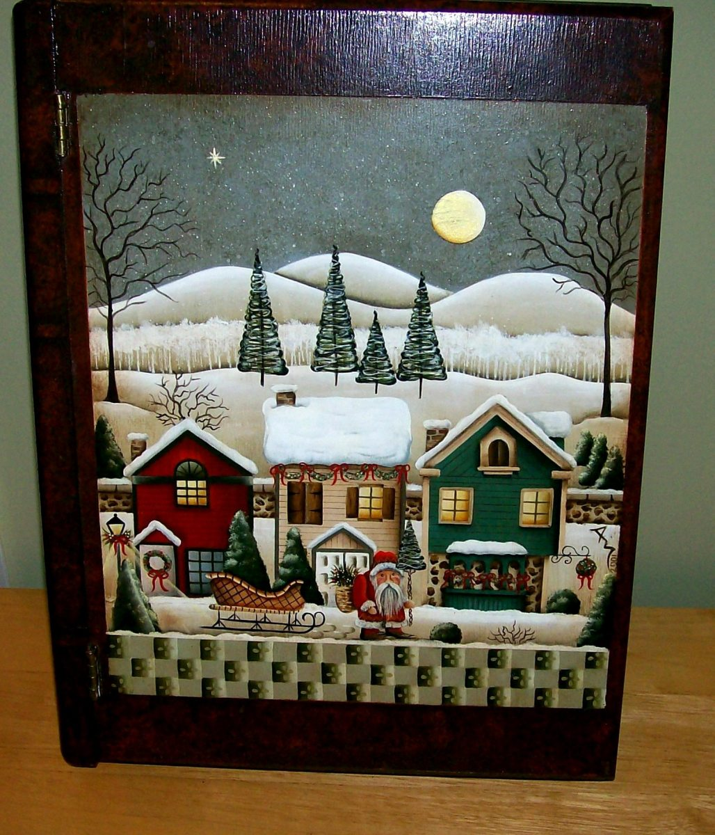 Mock Christmas book ~ holiday storage box painted by Patty Sypek/design by Betty Caithness