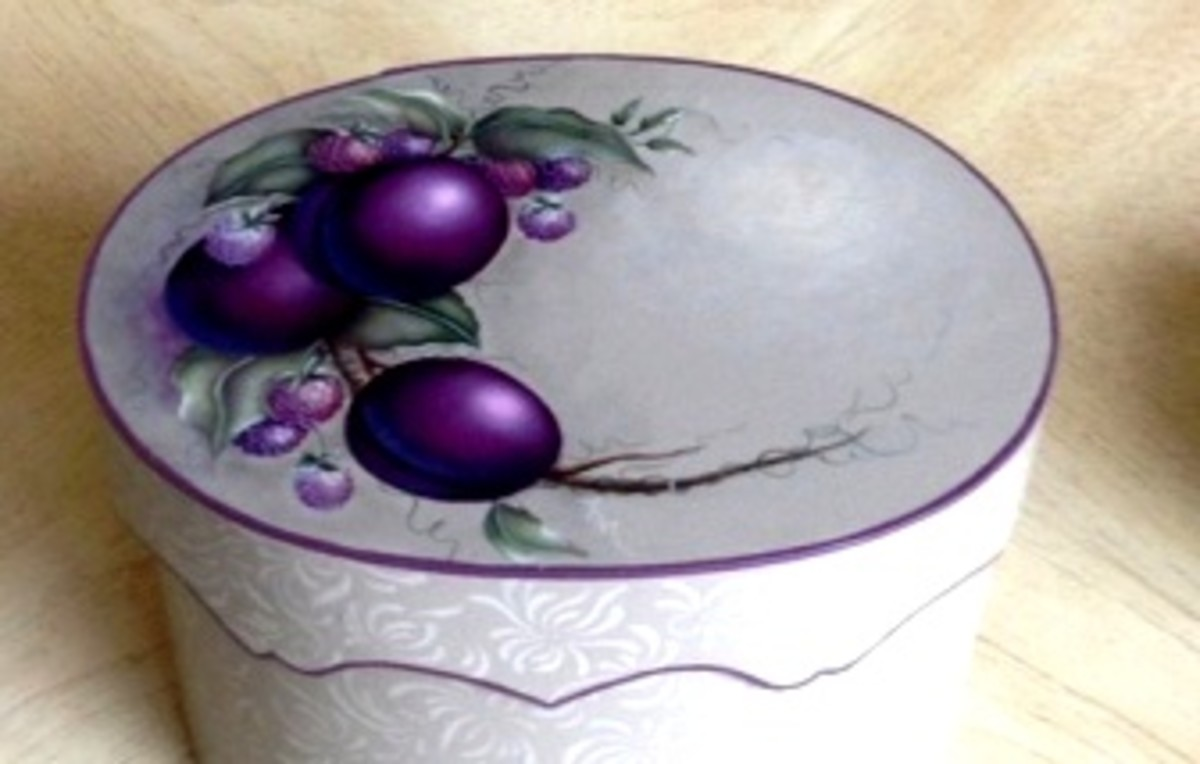 "Cluster of plums brought to ""life"" ~ painted by Patty Sypek/design by Debi Cole"
