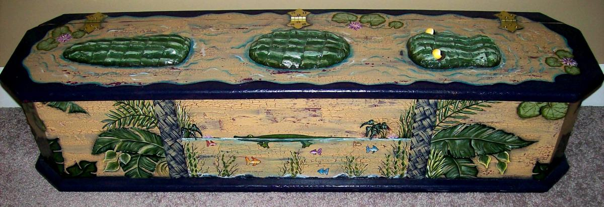 "Patty's ""crocodile box"" that she painted for storage in her ""safari room"" ~ modified from a Jane Crick design"