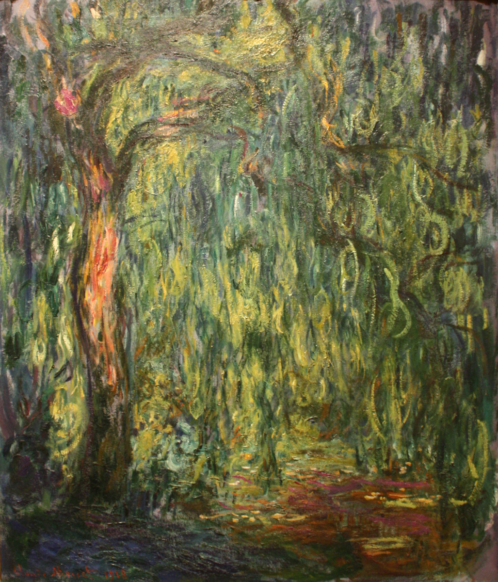 A  willow tree at the edge of Monet's water lilly pond. Completed in 1918. The medium used is oil on canvas.