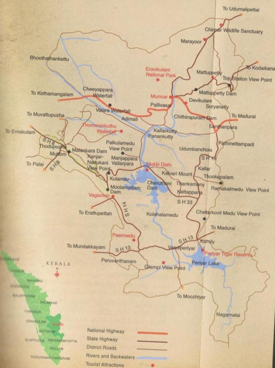Idukki Tourism map