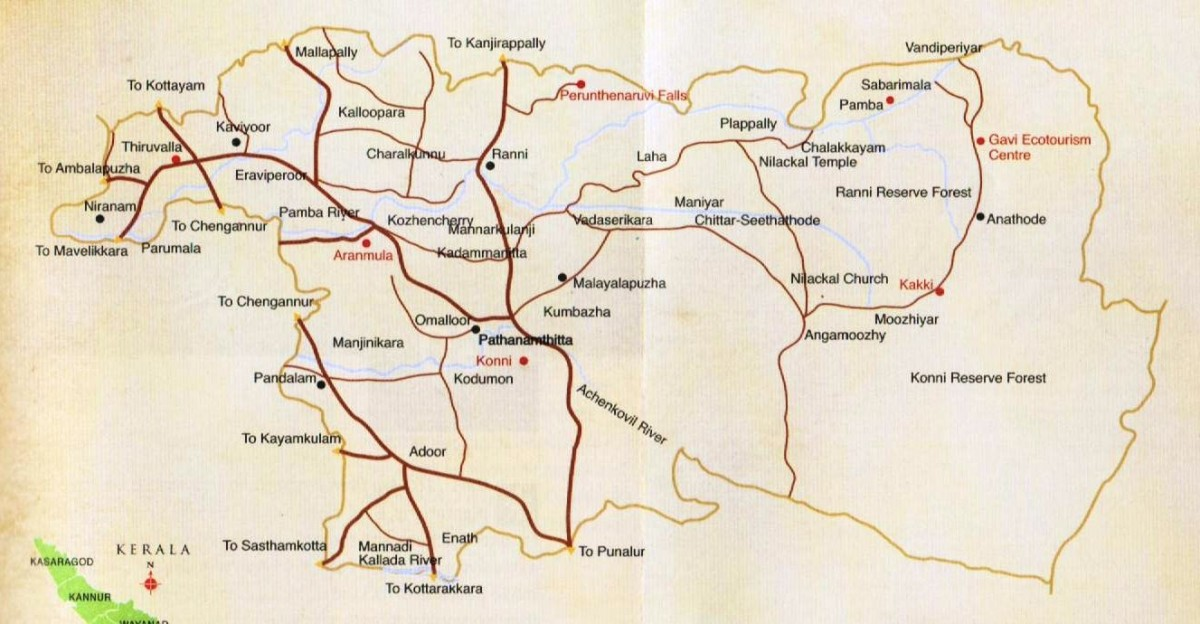 pathanamthitta Tourism Map