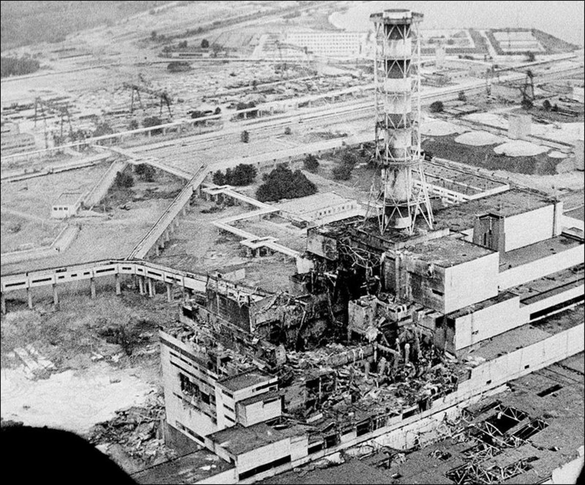 Chernobyl reactor 4 after explosion
