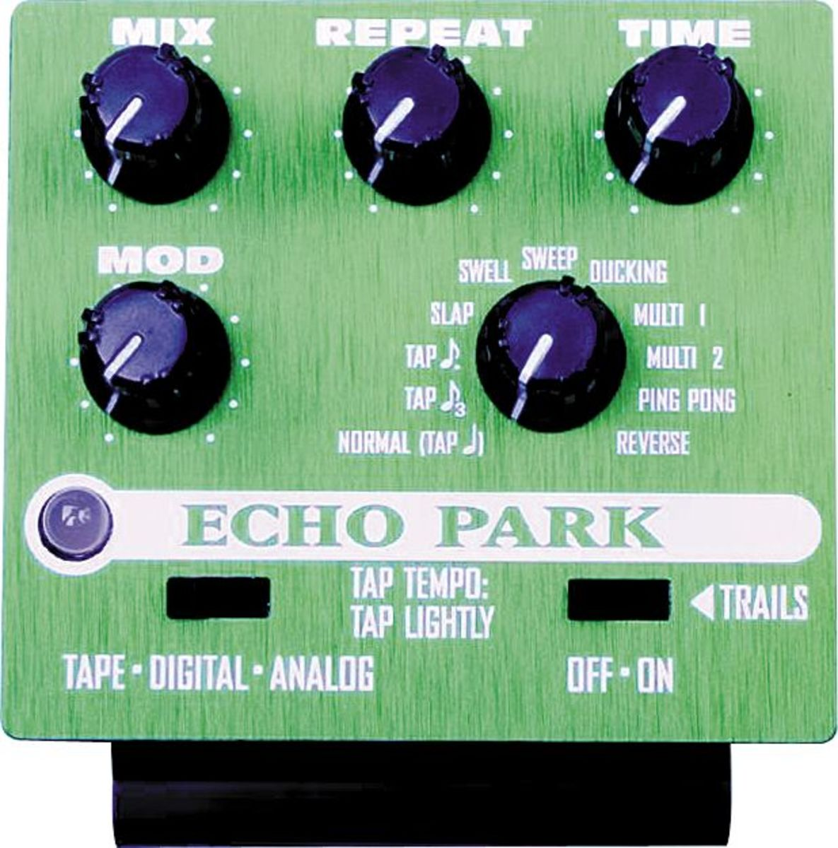 The Line 6 Echo Park's control interface is actually a removable ToneCore unit, which can be removed from the pedal's heavy duty chassis.