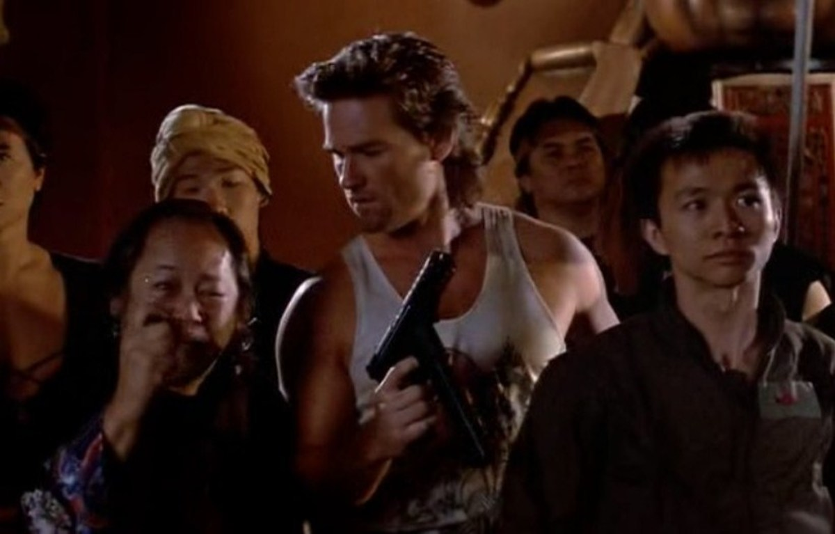 Left to right: Victor Wong as Egg Shen, Kurt Russel as Jack Burton, and Dennis Dun as Wang Chi