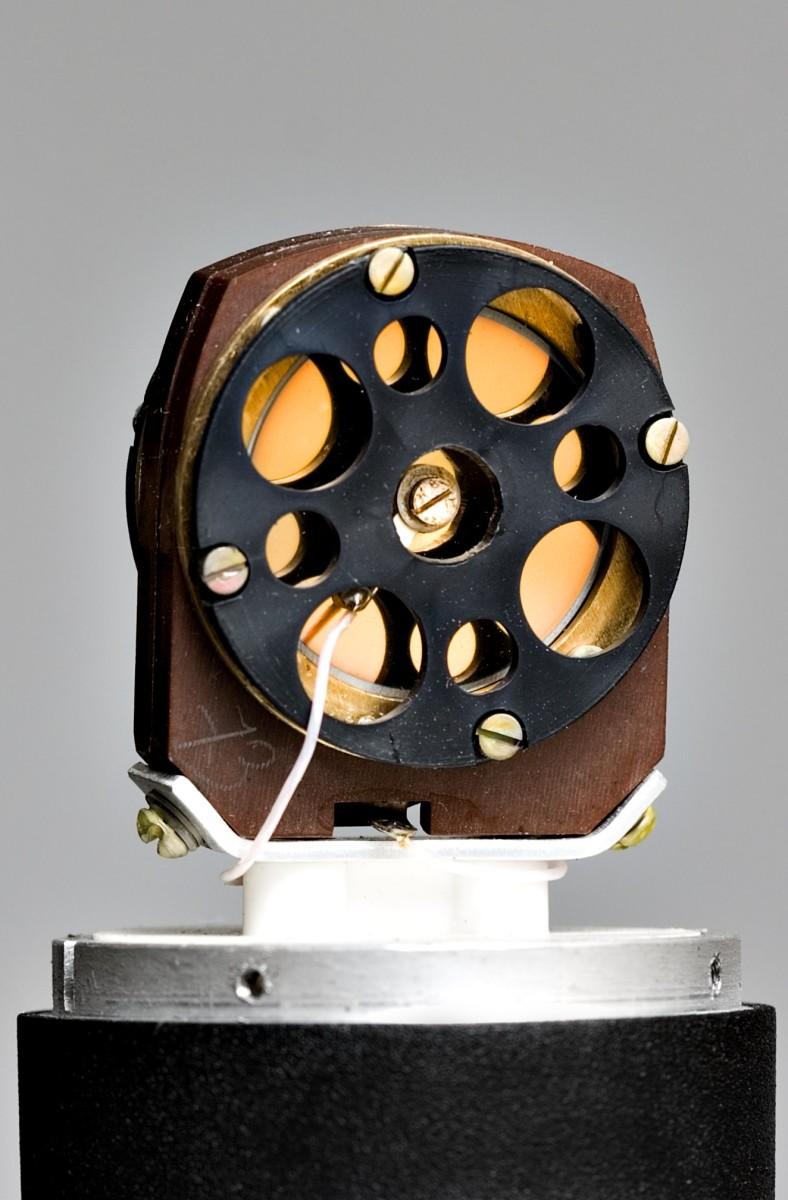 Inside a condenser microphone.