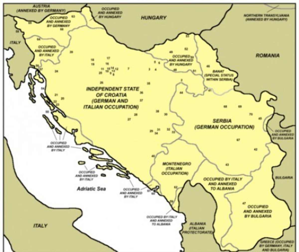 Location of concentration camps in the former Yugoslavia.