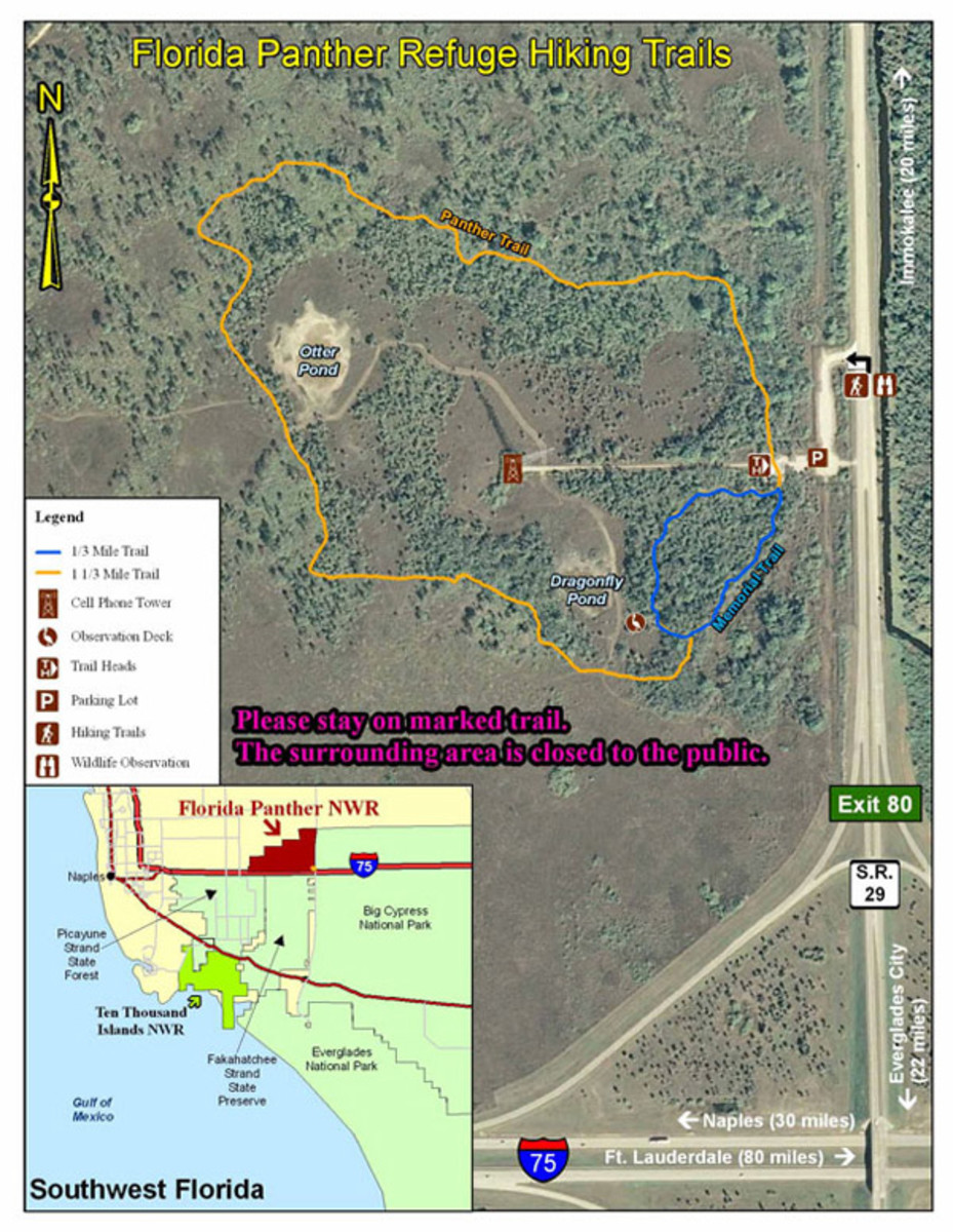 Trail maps in the Florida Wildlife Refuge