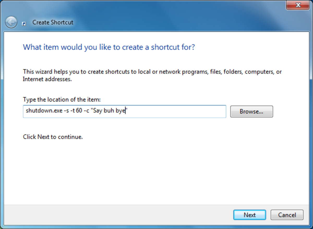 Enter the code given to either shutdown, reboot or even to log off from the PC in the blank box given for location.