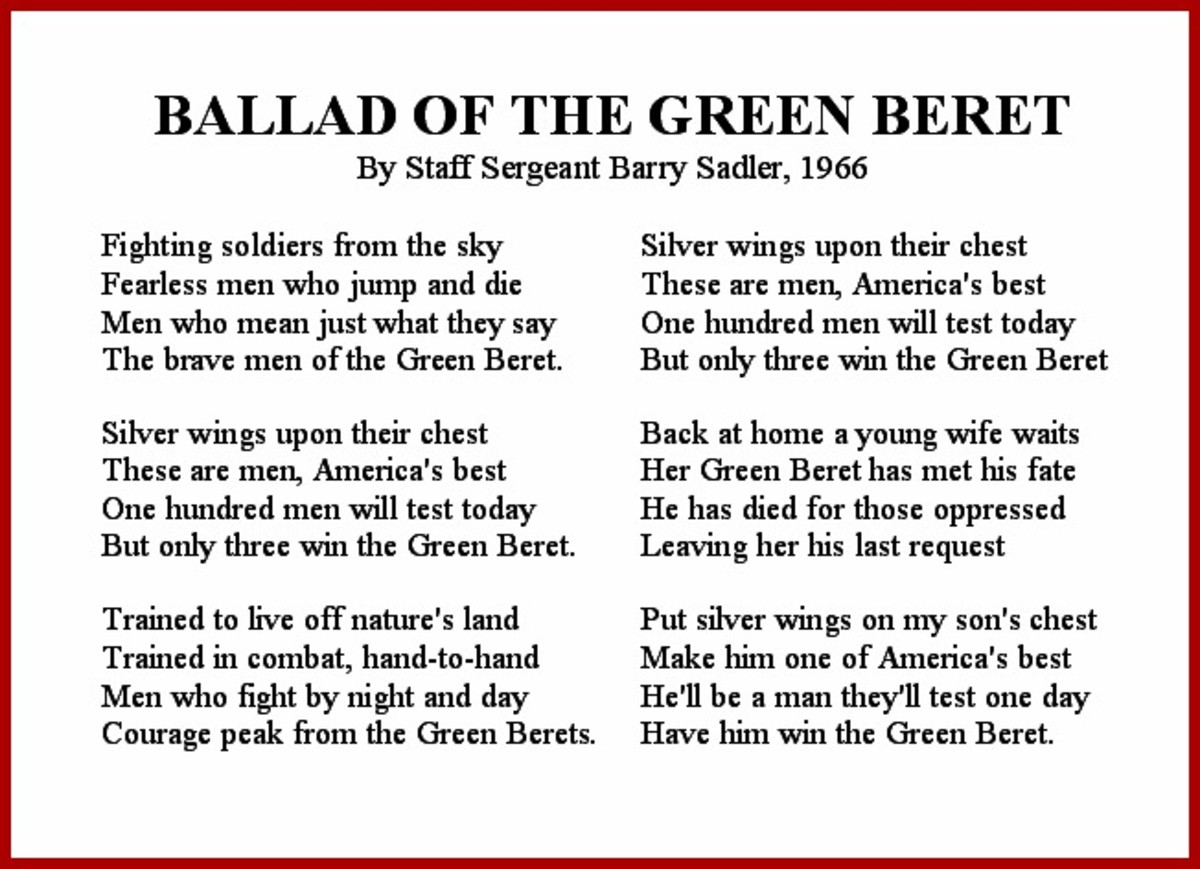 Ballad of the Green Beret Vietnam War Song Lyrics