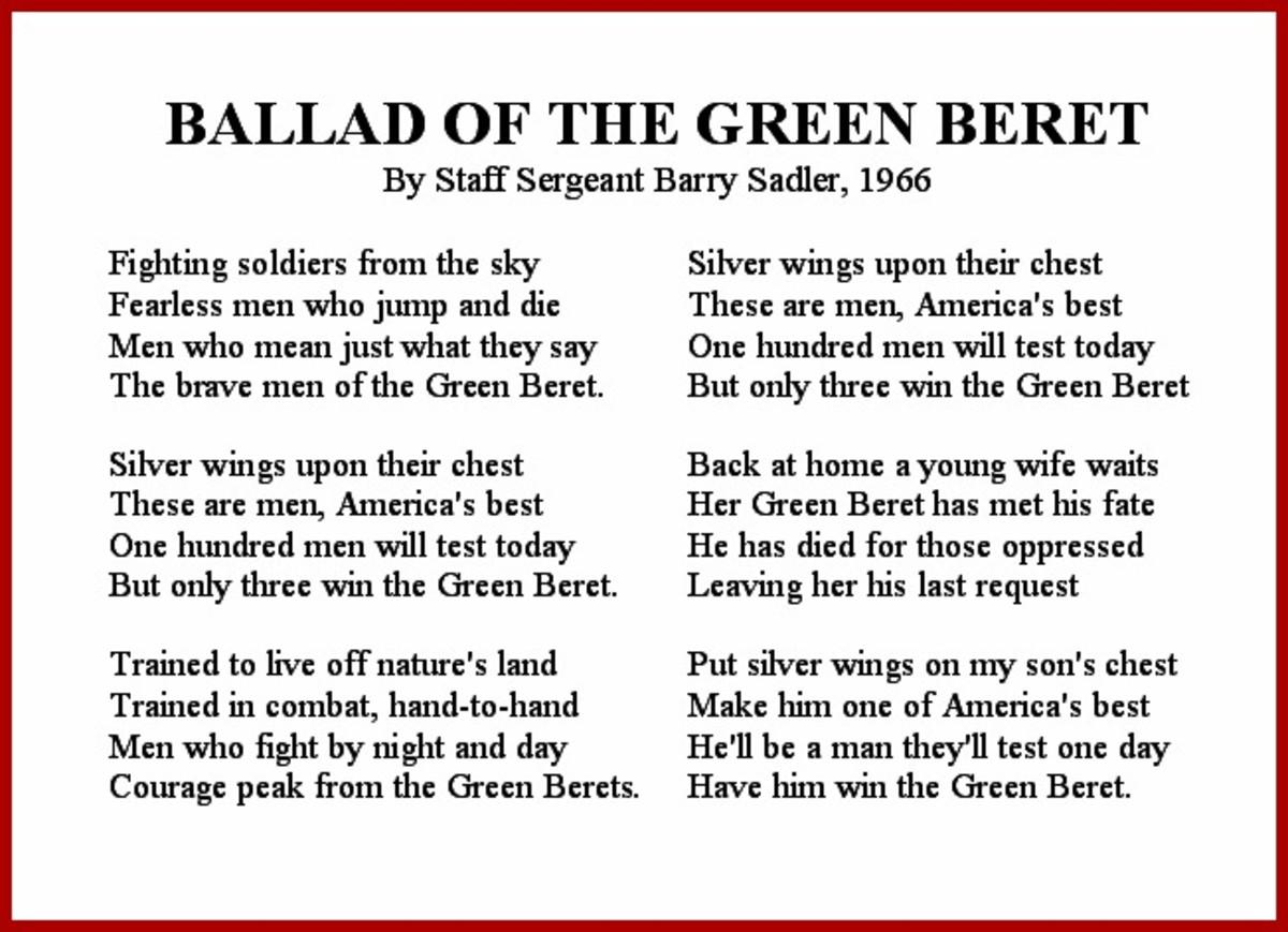 Ballad of the Green Beret Vietnam War Song Lyrics