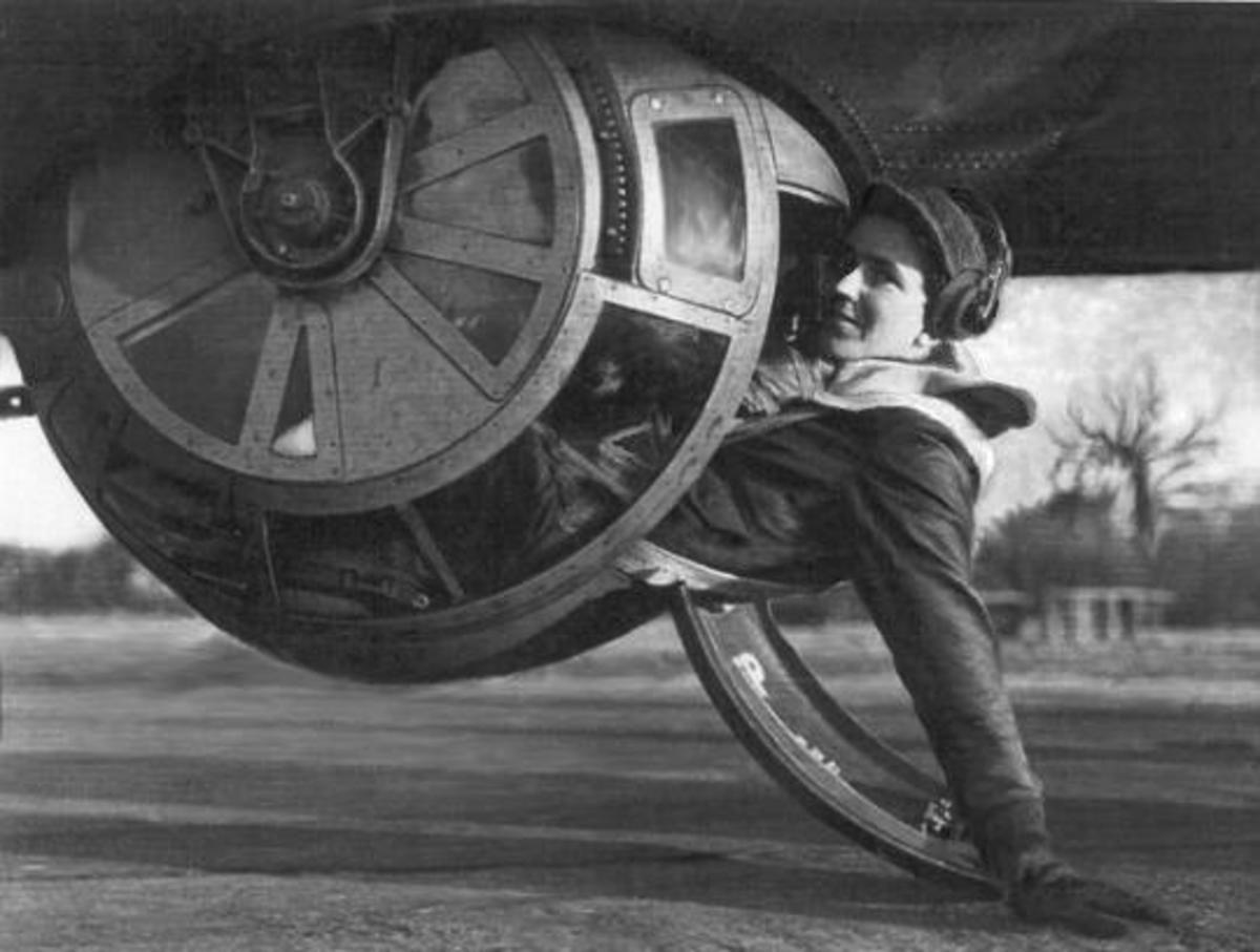 Ball Turret Gunner in World War 2 Plane