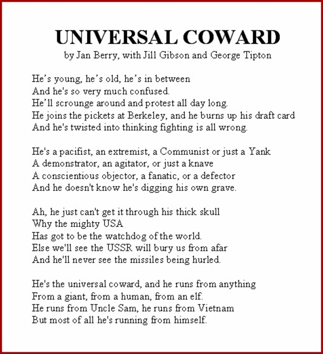 Universal Coward Vietnam War Song Lyrics