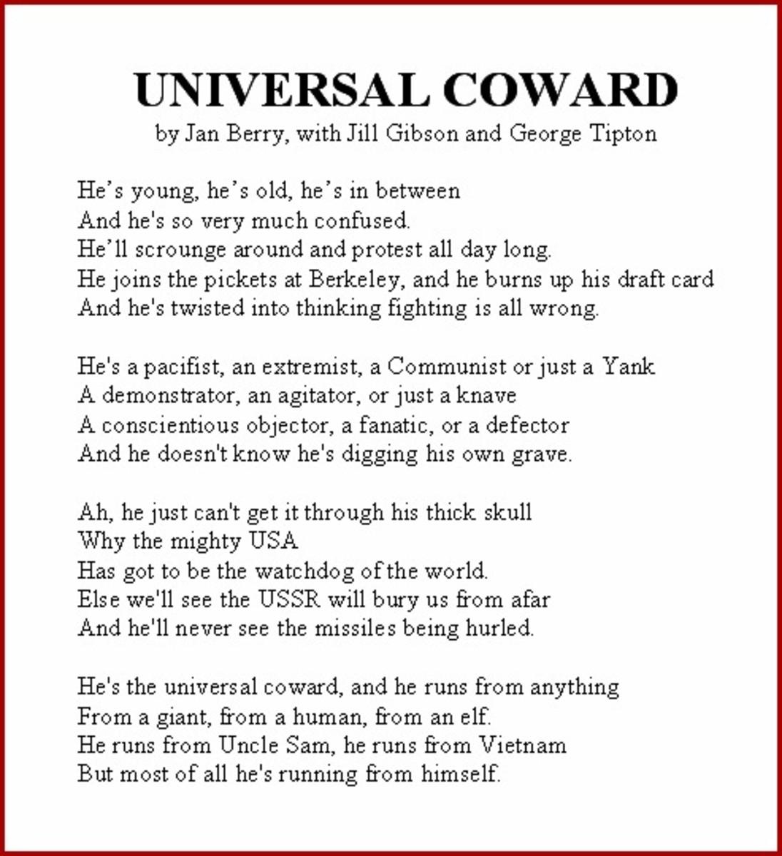 Universal Coward Vietnam War Song Lyrics