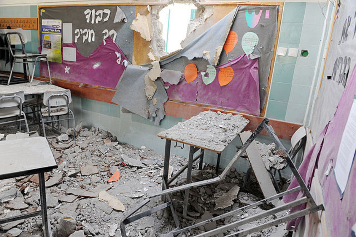 A kindergarten classroom in Israel, targeted by the Iranian funded Hamas government in Gaza City, in November, 2012.
