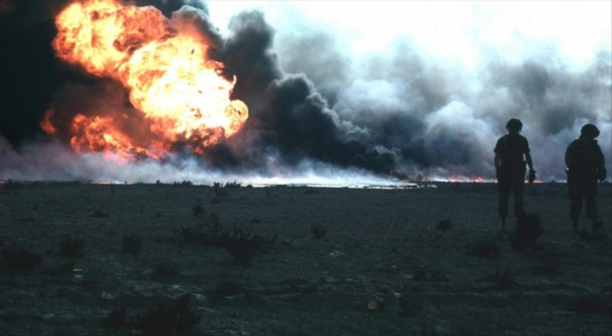 Oil fires that burned in Kuwait during the First Gulf War, 1990-1991