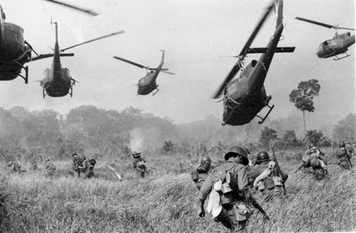 Vietnam War Helicopters in Battle