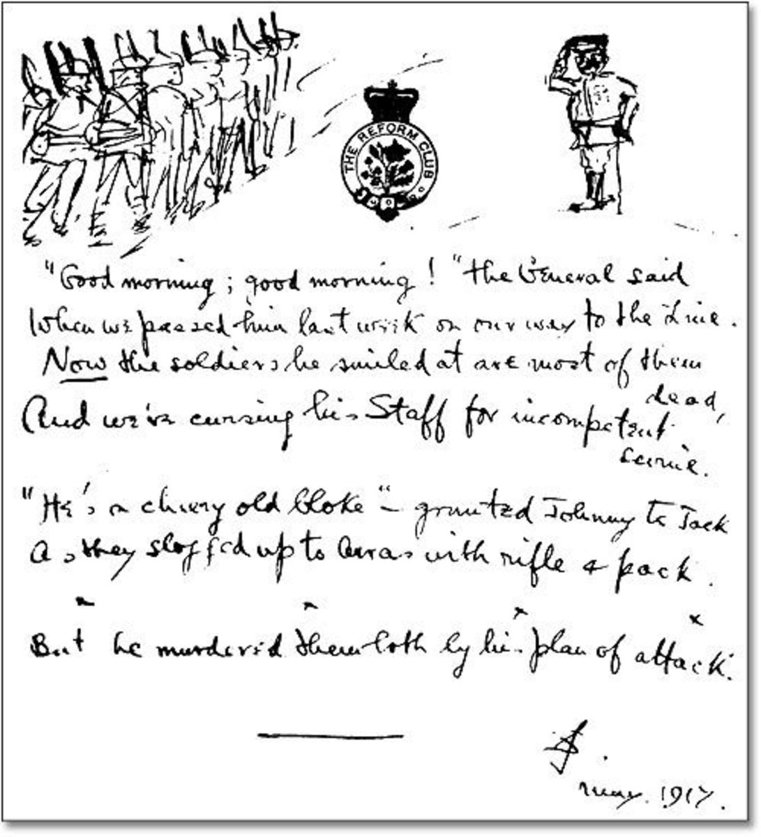 Manuscript of 'The General', a War Poem by Siegfried Sassoon