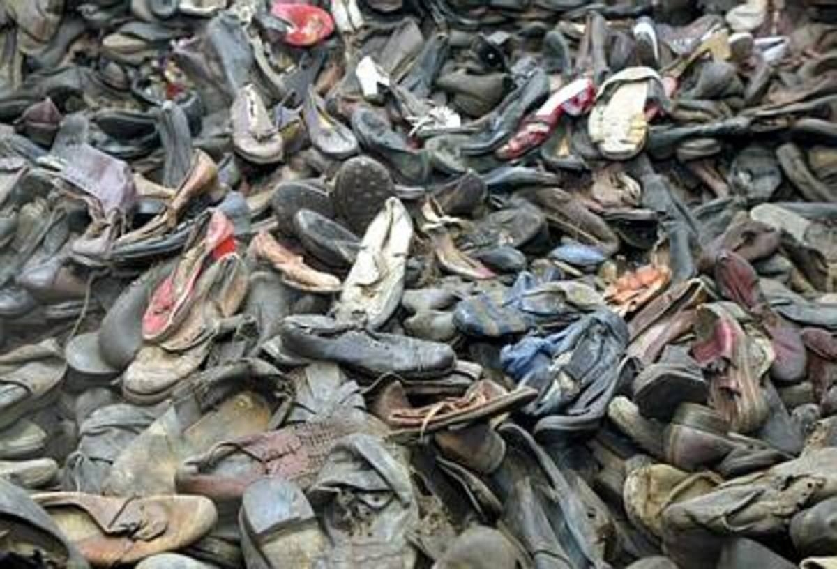 Piles of shoes found at Auschwitz