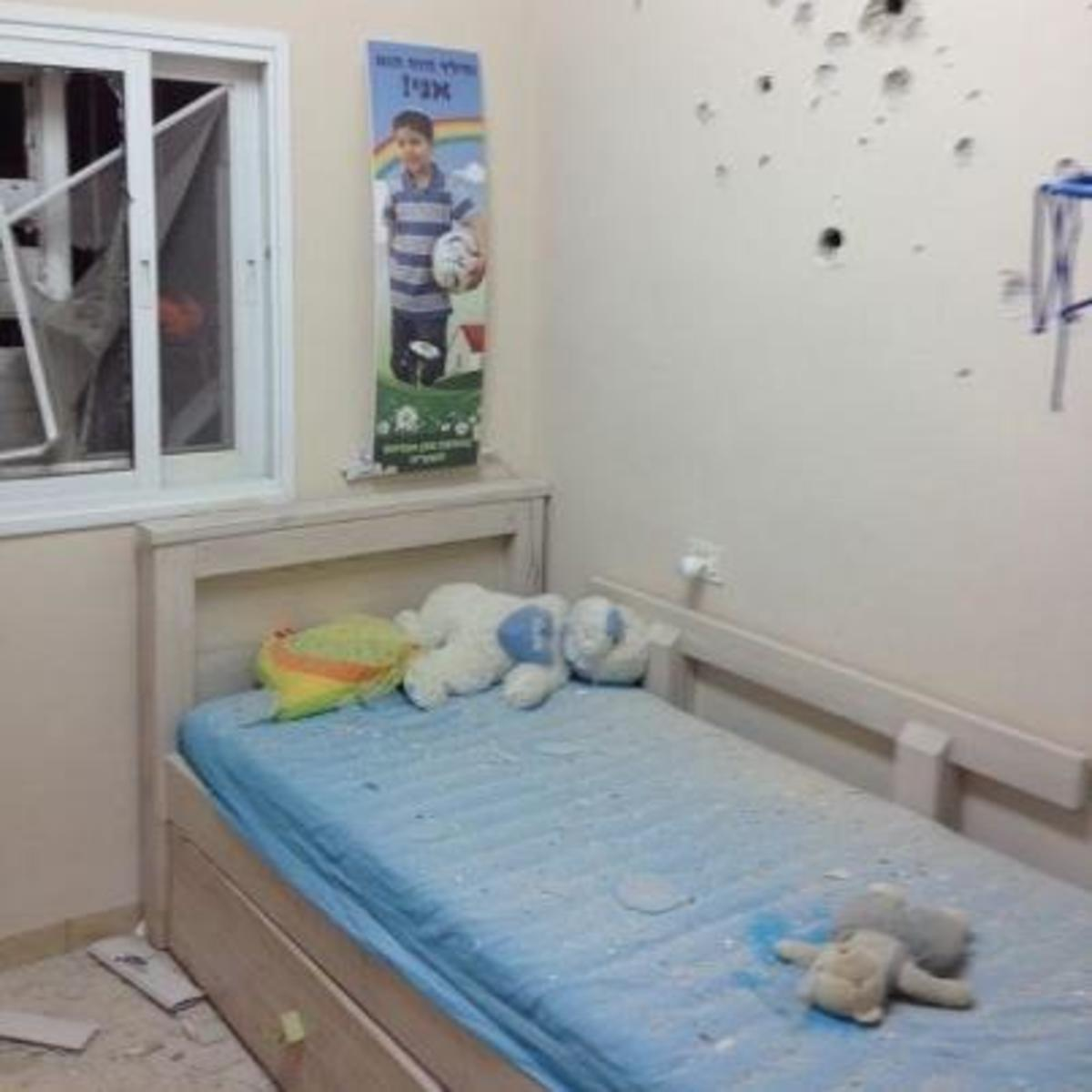 A child's bedroom in Israel, riddled with shrapnel from a missile launched by the Iranian funded Hamas government in Gaza City, in November, 2012.