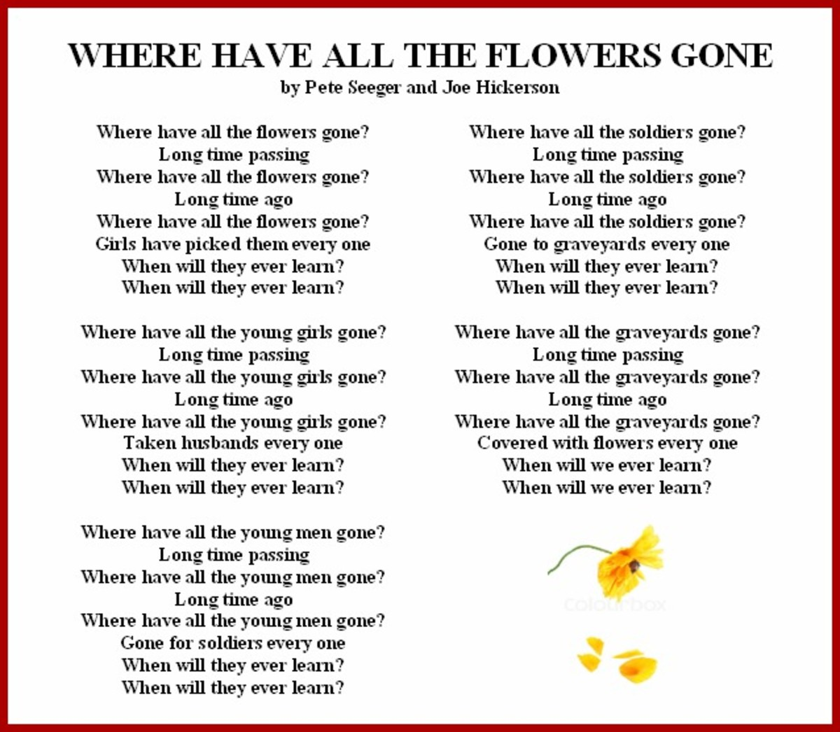 'Where Have All the Flowers Gone' Vietnam War Song Lyrics