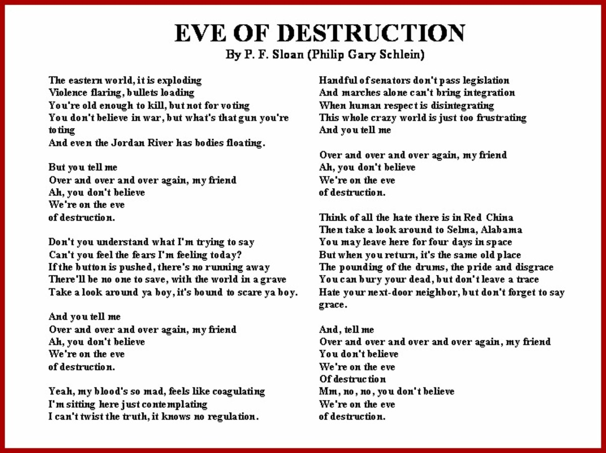 Eve of Destruction Vietnam War Song Lyrics