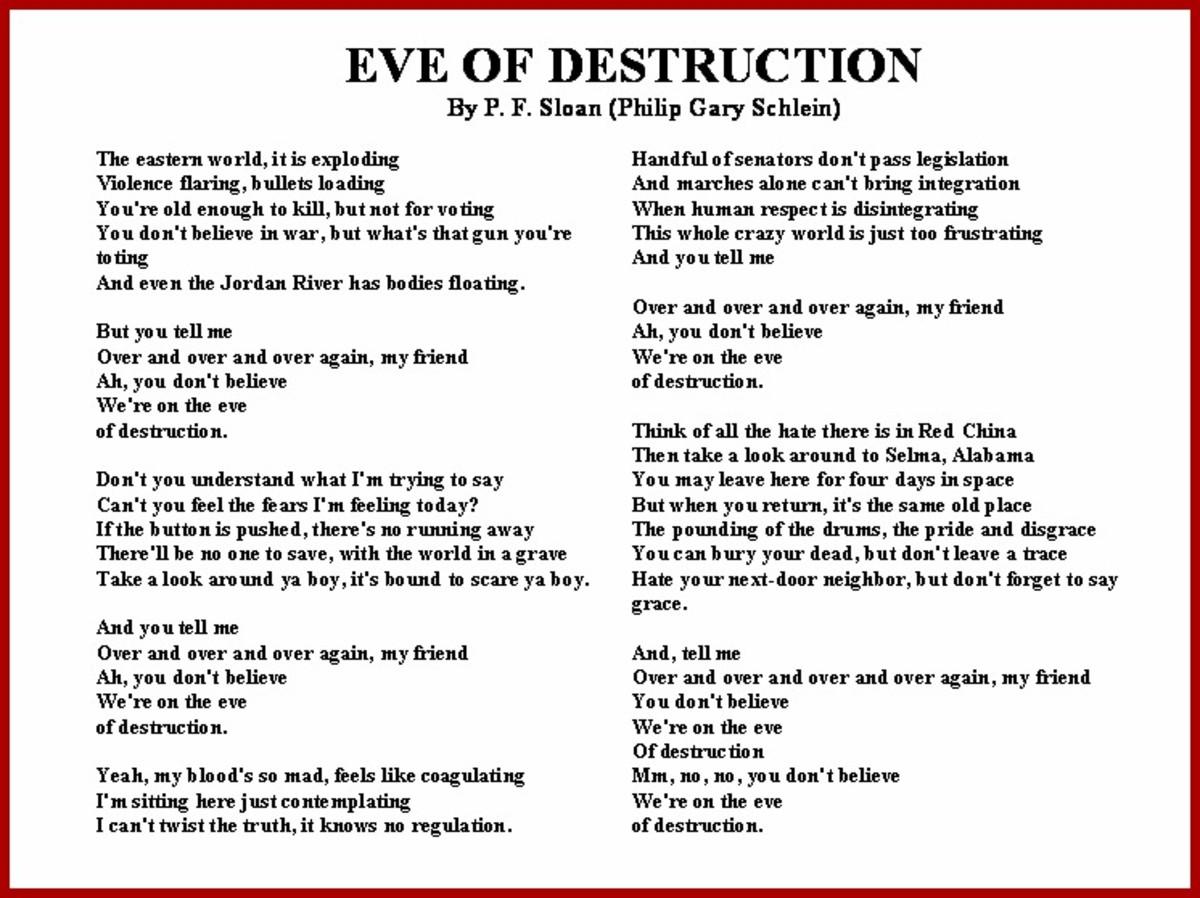 Eve of Destruction Vietnam War Song Lyrics