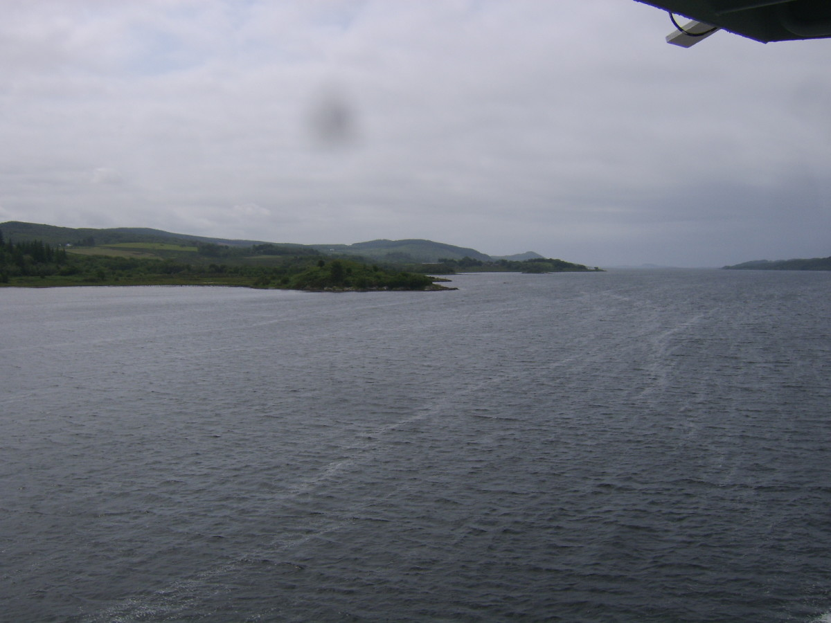 View down the West Loch as the Islay ferry departs Kennacraig