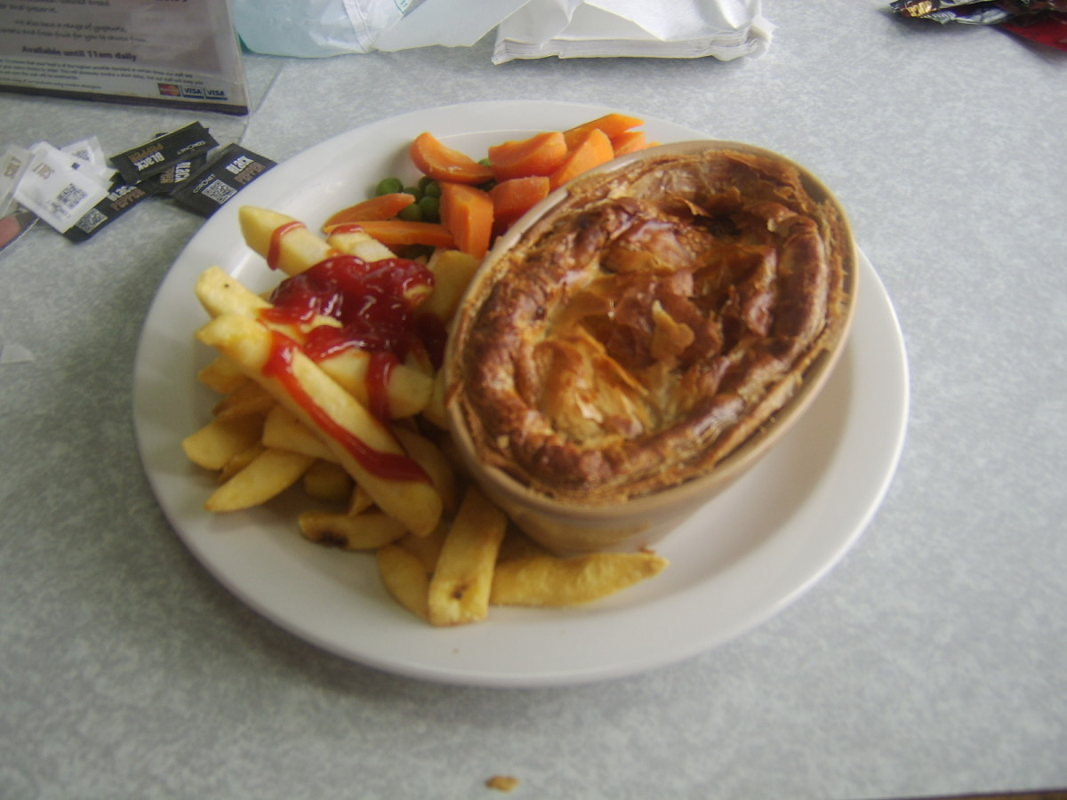 Steak pie, chips and veg on the Islay ferry