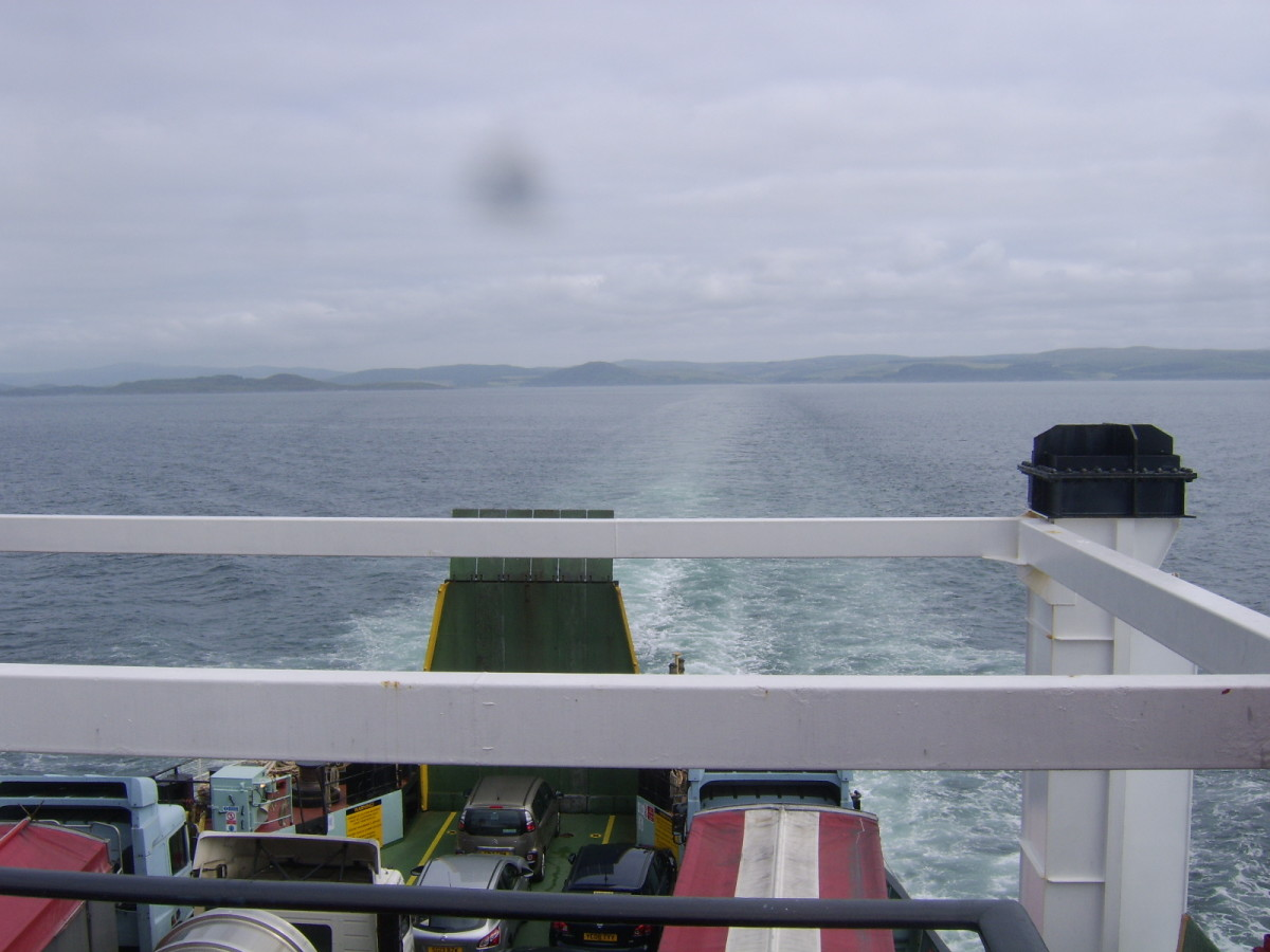 Stern view from the Hebridean Isles, back up the West Loch towards Kennacraig