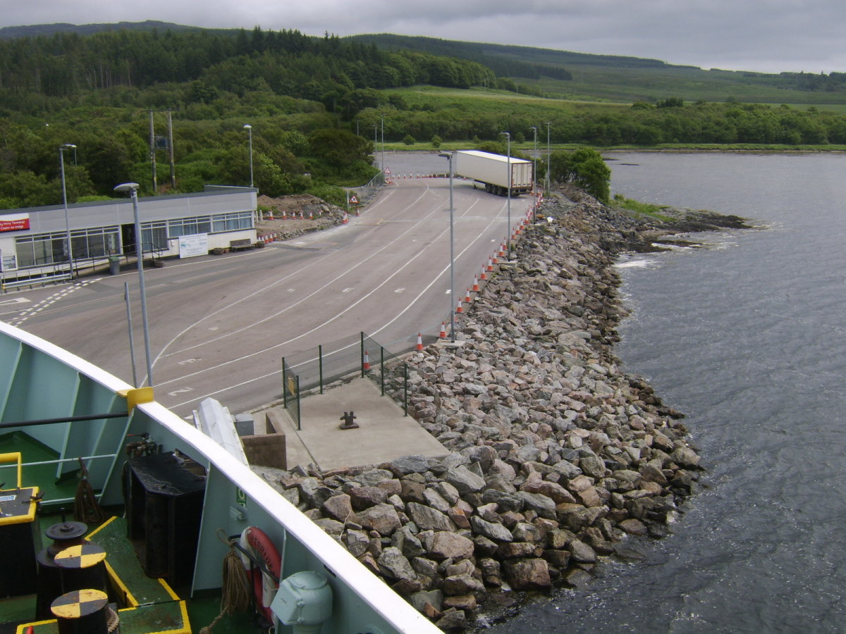 Vehicle waiting area at Kennacraig Ferry Terminal for boarding the ferry to Islay