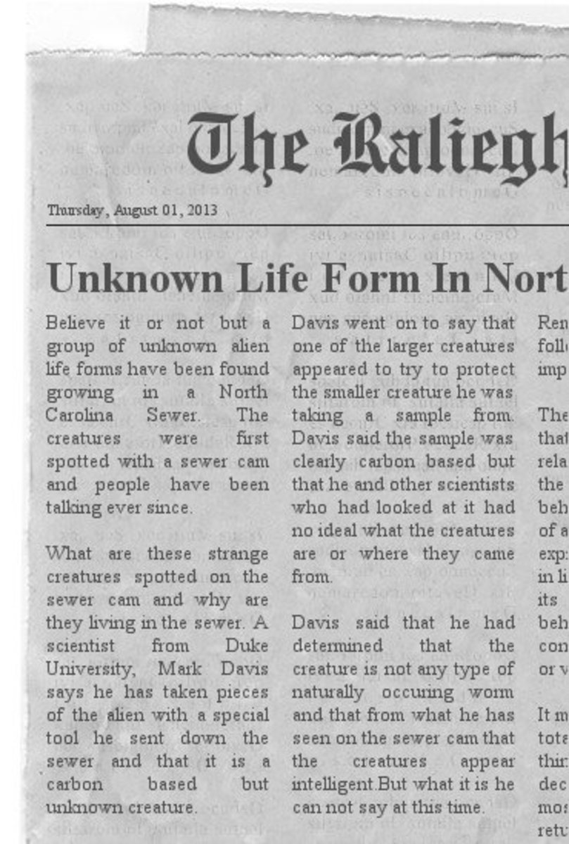 Paranormal And Weird Stories, Unknown Life Form Discovered In N.C. Sewer System