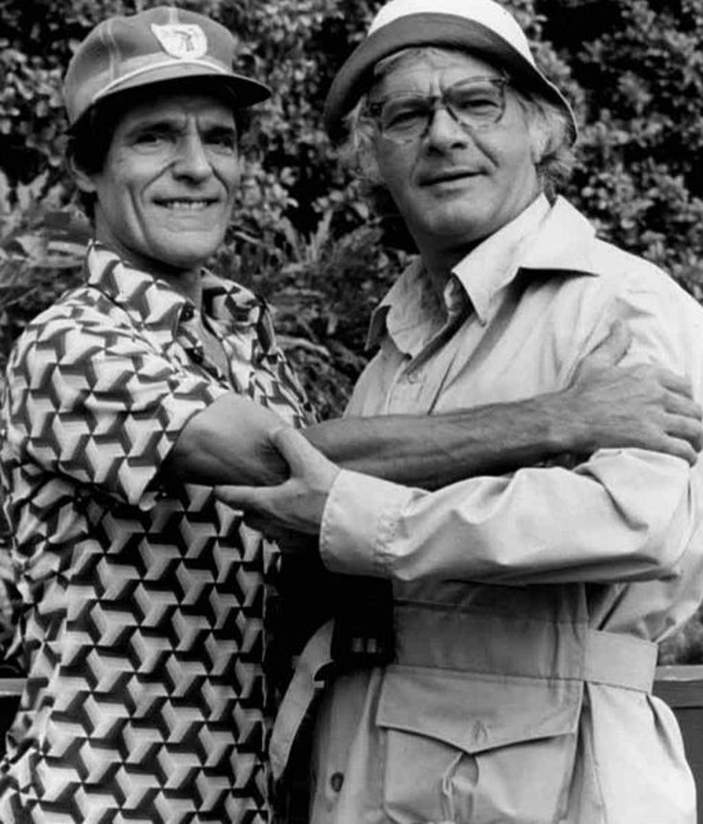 Puppeteer Cosmo Allegretti (Dancing Bear and others) and actor Dick Shawn on Captain Kangaroo in 1977. Many famous actors were guests on the shows.
