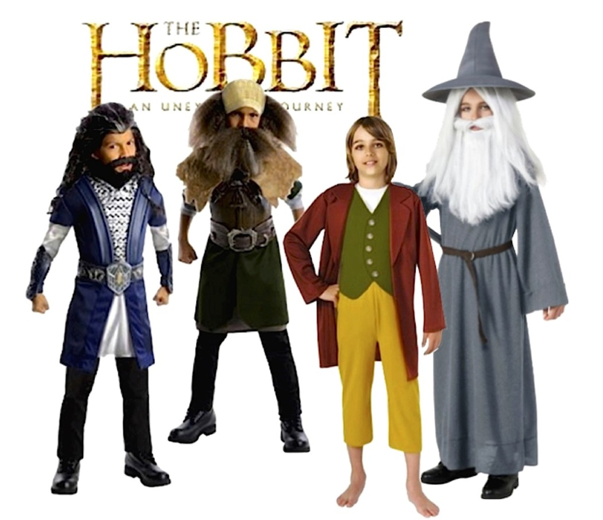Hobbit Deluxe Costumes for Kids Left to Right: Thorin, Dwalin, Bilbo Baggins, and Gandalf the Grey Costumes for Kids. All Available at