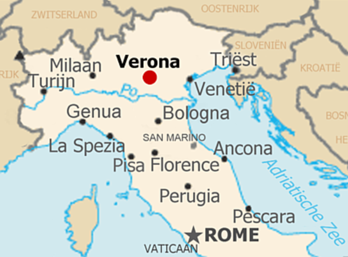 Location of Verona - A map of northern Italy
