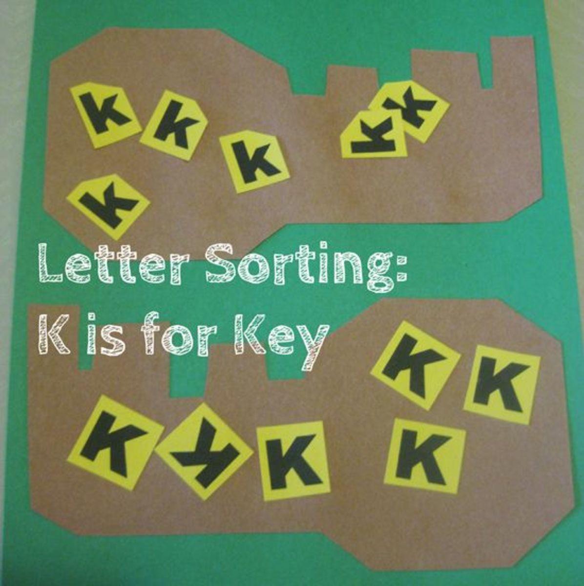 letter sorting k is for keys alphabet activities for kids
