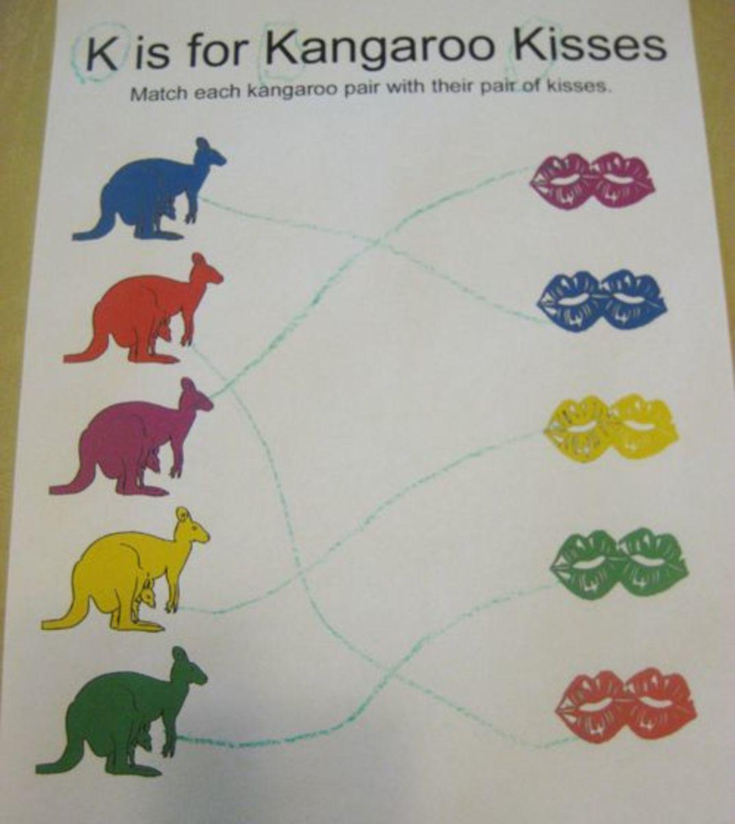 K is for Kangaroo Kisses Alphabet Activities