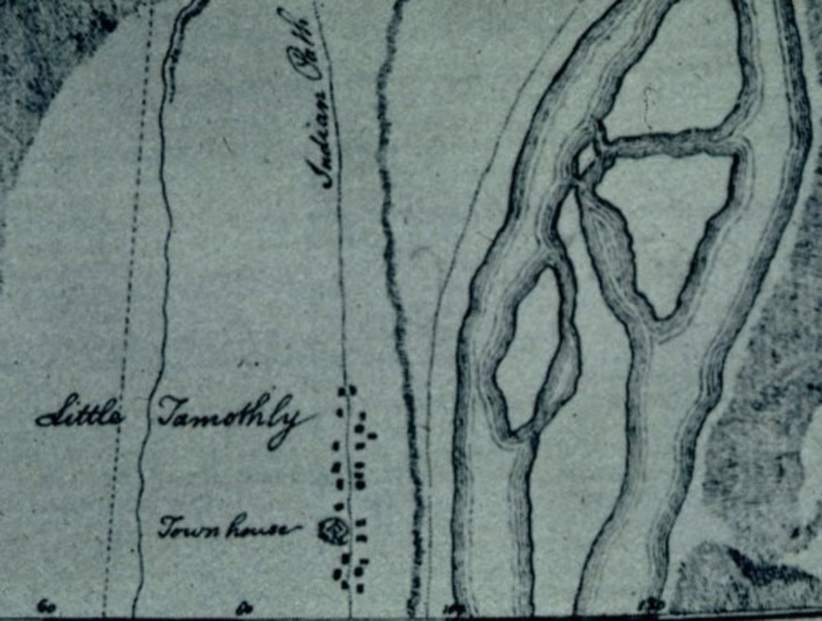 "Map showing the Cherokee village of Tomotley, which was once located along the Little Tennessee River in what is now Monroe County, Tennessee, United States. The village's townhouse and a road (""Indian Path"") are labeled."