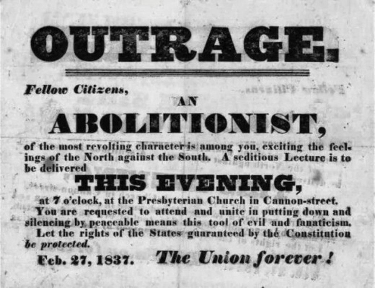 A poster that advertises an anti-Abolitionist meeting in 1831; Abolitionists were considered too extreme in their views by both sides of the slavery issue