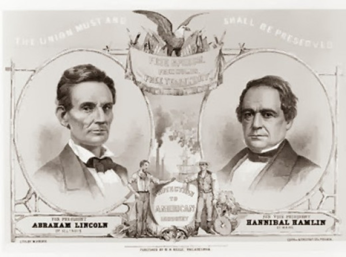 A campaign poster for the Republican Party - Abraham Lincoln for president, Hannibal Hamlin for vice-president