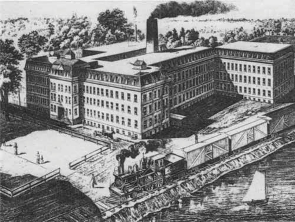 Painting of an unidentified northern factory - 1860's.