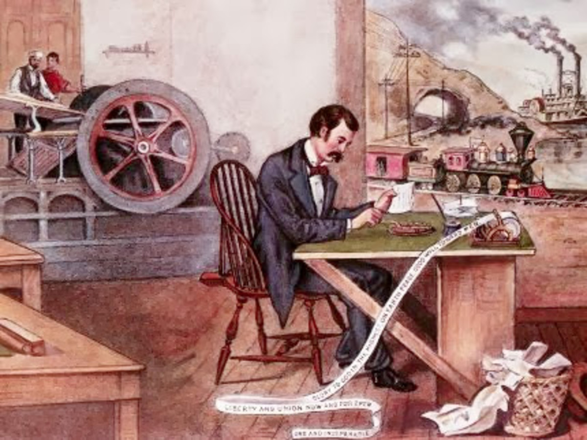 Cartoon of a northern machine shop. A clerk sits in the foreground..